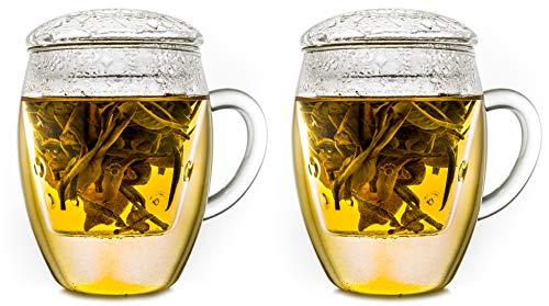 Creano 2er-Set All-in-One TeeGläser mit Filter und Deckel im praktischen, EIN idealer Teebereiter | 400ml