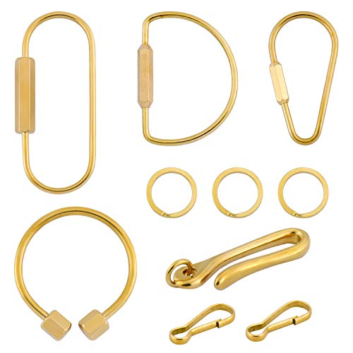 Yotako 10 Stks Messing Schroef Lock Clip Sleutelhanger Ring, Duurzame Grote Goud Sleutelhanger Sleutelhangers Houder voor Thuis Auto Sleutels
