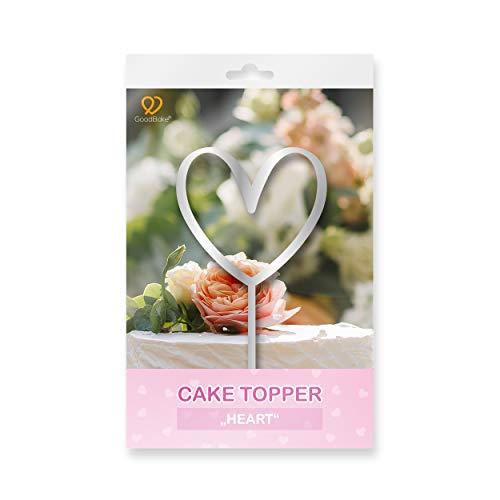 """GoodBake Cake Topper – """"Herz / Heart"""" – silber – Torten-Deko / Kuchen-Deko – Tortenaufleger, Dekoration für Geburtstagskuchen, Hochzeitstorten, Valentinstag uvm."""