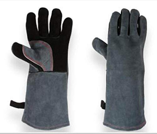 GGOII Handschuhe Schwarze Schweißerhandschuhe, Gartenarbeit in der Lederfabrik, Schweißen von Holzofen-Arbeitshandschuhen, hitzebeständig, grau