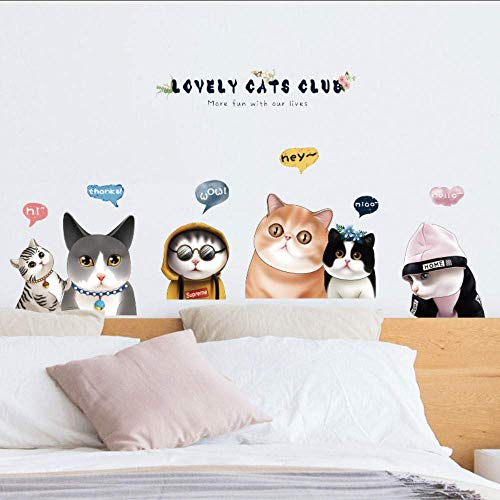 Muurstickers Leuke katten Cartoon muur Stickers Mooie Kitty Dier Slaapkamer Slaapbank Achtergrond Decoratieve Stickers Taille Lijn DIY Applique