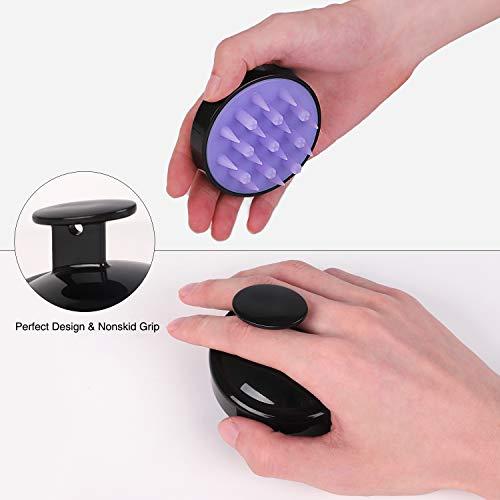 Heeta Hair Scalp Massager, Updated Wet and Dry Hair Shampoo Brush Scalp Massage Brush with Soft Silicone Brush Head Massager, Black