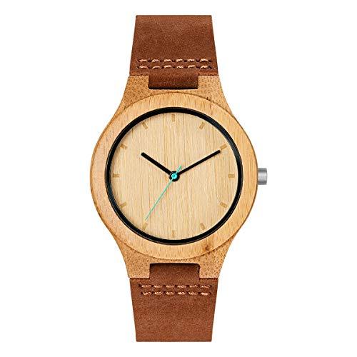 Mam relojes histo Herren Uhr analog Japanisches Quarzwerk mit Leder Armband 600