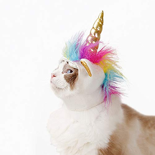 Einhorn-Kostüm für Katzen, Horn Kopfschmuck Perücke Haustier Verkleidung Party