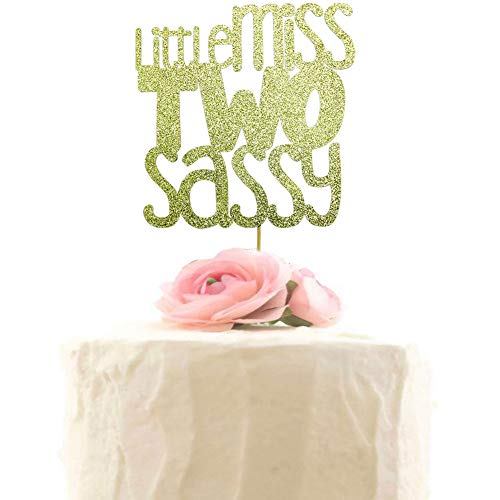 Little Miss Two Sassy Cake Topper - 2nd Birthday Party Decor, Happy Two Years Old Birthday Cake Decorations - Gold Glitter