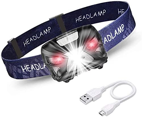 eecoo Linterna Frontal USB Recargable, 8 Modos Linterna LED Cabeza Impermeable, 6000K 300LM 1200mAh Conmutación de Sensor sin Manos para Espeleología Senderismo Camping, Pesca, Ciclismo, Escalada
