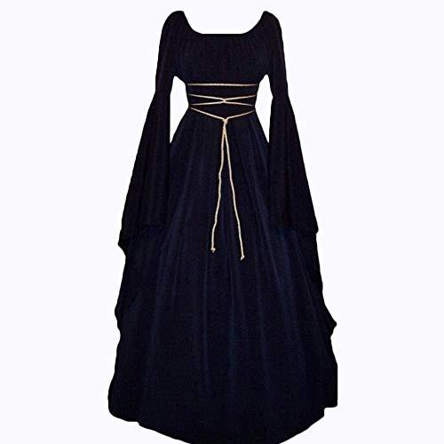 YYANG Halloween KostüM Costume Lange ÄRmel Rundhalsausschnitt GüRtel UnregelmäßIg Frau Kleid Kleidung,Navy Blue XL