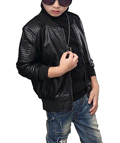 LaoZan Kinder Jungen PU Lederjacke Mantel Herbst Winterjacke Kunstlederjacke Bomberjacke Schwarz 140cm