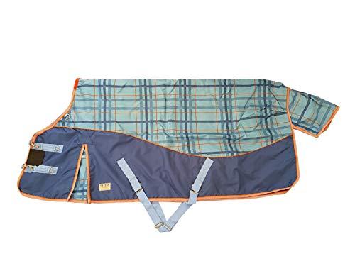 netproshop Pferde Regendecke 600D Wasserdicht 3000mm Gr. 135/155, Groesse:155, Farbe:Blau/Orange Kariert