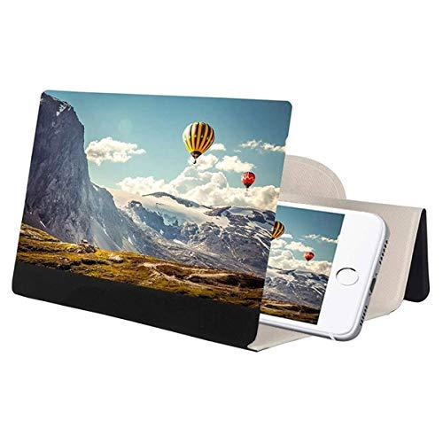 WOSU Lupa de Pantalla de 12 Pulgadas para teléfono Celular, 3D HD con Aumento de Pantalla de proyector Ampliable para películas, vídeos y Juegos Compatible con Todos los teléfonos Inteligentes