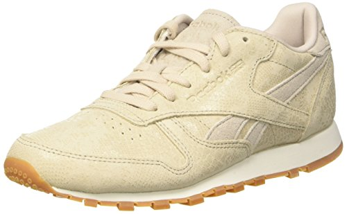 Reebok Damen Classic Leather Clean Exotics Gymnastikschuhe, Grau (Stucco/Chalk/Sand Stone/Gum), 36 EU