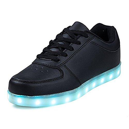 Aimee-Store 7 Farbe USB Aufladen LED Leuchtend Sport Schuhe Sportschuhe Sneaker Turnschuhe für Unisex-Erwachsene Herren Damen Jungen Mädchen(EU 46,Schwarz)
