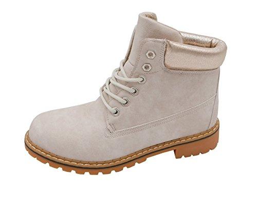 t*fd Damen Ankle Worker Boots Metallic Schnürstiefeletten Damen Schuhe Plateau Blockabsatz (8495)...