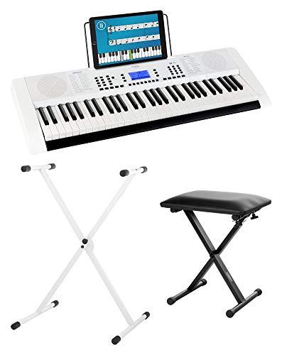 Funkey 61 Edition Pro Set inkl.Keyboardständer und Bank (128 Sounds, 128 Rhythmen, 10 Demo Songs, LCD Display mit detaillierter Anzeige, MP3-/USB-Port, Netzteil, Notenständer, Ständer, Hocker) weiß