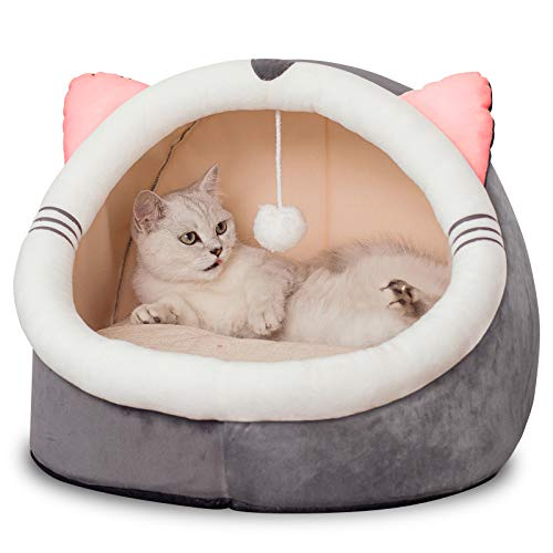 Domipet Cat and Small Dog Bed with 5-inch Thick Inner for Indoor Anti-Slip and Water-Resistant Bottom Durable Fabric Luxury Covered Cat Bed Cave Cute Large Tent Enclosed Cat Bed, Dark Brown