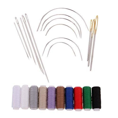 MagiDeal 14 Stück Gebogene Polster Nadeln Groß Auge Nähnadeln Set Polsternadeln + 10 Stück Nähgarn Jeansfaden für Leder Reparatur Handwerk