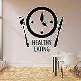 Tianpengyuanshuai Saludable Comer Etiqueta de la Pared Reloj de Palabra Hora de la Comida Cocina Restaurante decoración Vinilo Pegatina Mural 85X87 cm