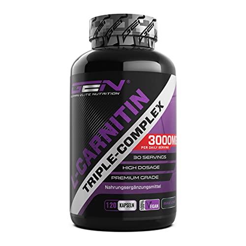 L-Carnitina Triple Complex - 3000 mg por ración diaria - Premium: Complejo de Acetil-l-carnitina, L-Carnitina Tartrato y Carnitina Fumarato - 120 Cápsulas - Alta dosis - Vegano