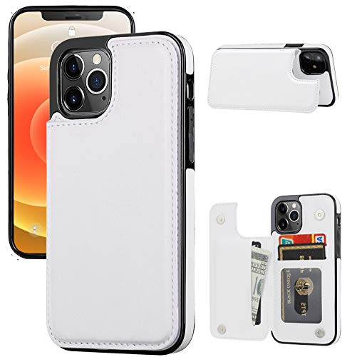 """JOYAKI Wallet Case Compatible with iPhone 12 Pro/12,Slim Protective case with Card Holder,Premium PU Leather Kickstand Card Slots Case with a Screen Protective Glass for iPhone 12pro/12(6.1"""")-White"""