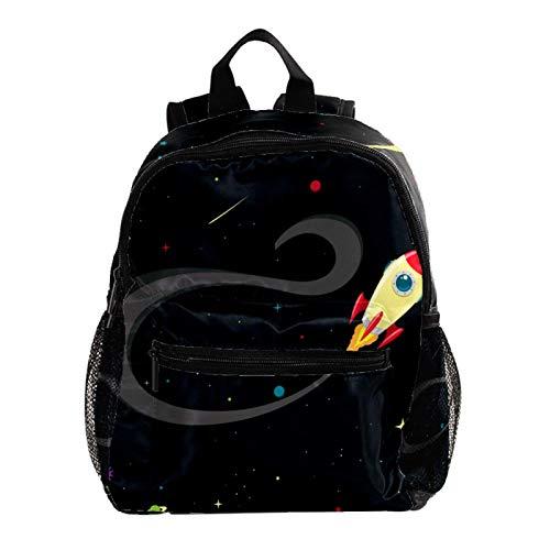 Girls School Bag Backpack Strap Kids School Backpack for Girls Elementary Student Schoolbag,Space Rocket