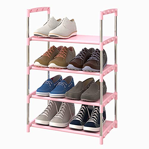 SHELAKET 4-Tier Shoe Rack Multifunctional Organizer, Stackable Adjustable Lightweight Metal Space Saving, Free Standing for Closet Hallway Entryway Living Room Bedroom … (Pink)