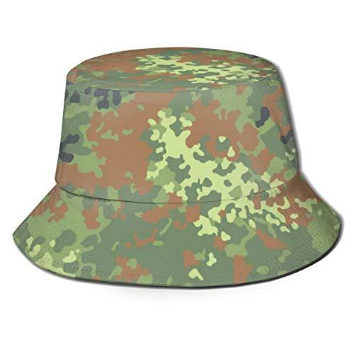 Angeln Hüte Bucket Hat Packable German Bundeswehr Flecktarn Camo Print Sun Hat Fisherman Hat Cap Outdoor Camping Fishing Safari for Men Women Black