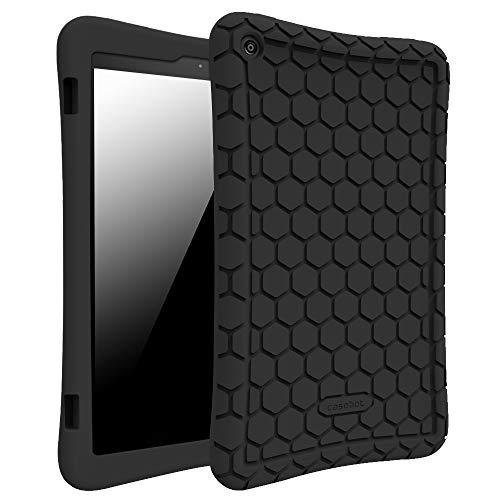 Fintie Hülle für Amazon Fire HD 8 Tablet (7. und 8. Generation - 2017 und 2018) - Leichte rutschfeste Stoßfeste Silikon Tasche Case Kinderfreundliche Schutzhülle, Schwarz