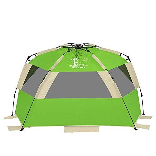 IREANJ Tienda familiar para exteriores de gran tamaño para 2 a 3 personas, tienda de playa, portátil, protección UV, para acampar al aire libre, tienda de campaña al aire libre (color verde)