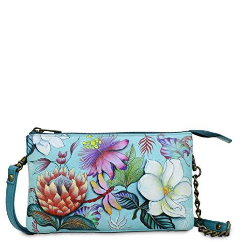 Anuschka Damen Echtes Leder Compact Umhängetasche Mit Vortasche, einheitsgröße jardin bleu