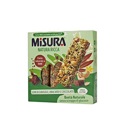 Misura Snack Cereali Natura Ricca | Barrette Cereali, Semi di Girasole, Anacardi e Cioccolato | Confezione da 84g