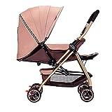 Not a brand Tubo de Acero, implementación bidireccional del Cochecito de bebé, Cochecito Plegable portátil Ultraligero para bebés, el bebé Puede Sentarse y Colocar el Cochecito Carro de bebé
