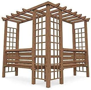 Jardín al aire libre con barras de apoyo y un mini-esquina tablas de madera de jardín cenador cenador celosía arco de esquina banqueta,Brown: Amazon.es: Hogar
