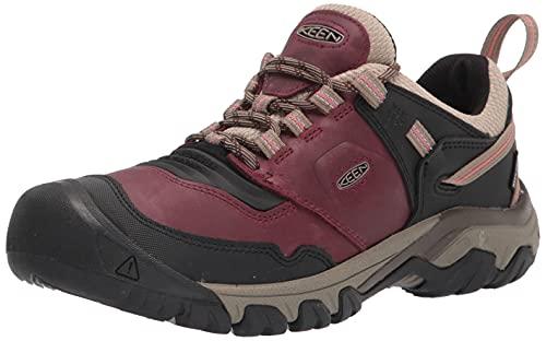 KEEN Women's Ridge Flex Low Height Waterproof Hiking Shoe, Rhubarb/Brindle, 9.5
