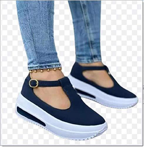 SQL Sandalias Planas de Plataforma para Mujer Hebilla de Punta Cerrada con Fondo Grueso Zapatos con borlas Baotou Zapatillas de Ocio Sandalias de Playa Retro,Azul,37