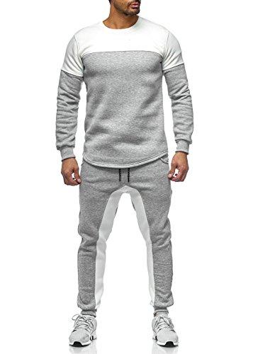 Trainingsanzug Männer Schwarz Grau Khaki Sportanzug Herren Jogginganzug Slim Fit 978 (Cream Grau, XS)