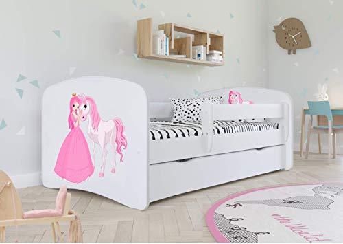 Bjird Kinderbett Jugendbett 70x140 80x160 80x180 Weiß mit Rausfallschutz Schublade und Lattenrost Kinderbetten für Mädchen und Junge - Prinzessin und Pferd 180 cm