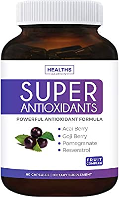 Super Antioxidant Supplement - Powerful Super Food Antioxidants Blend - Acai Berry, Goji Berry, Pomegranate & Trans Resveratrol - Natural Herbal, Fruit Formula - Skin Care - Made in USA - 60 Capsules