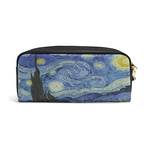 ABLINK Van Gogh Starry Night Art Pencil Pen Case Pouch Bag with Zipper for Travel, School, Small Cosmetic Bag