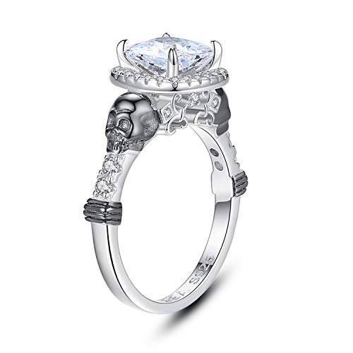 EVBEA Skull Ring Sterling Silver Promise Engagement Wedding Bands Cubic Zirconia Stackable Jewelry Dainty Knuckle Gothic Finger Diamond Vintage Rings for Women Girls