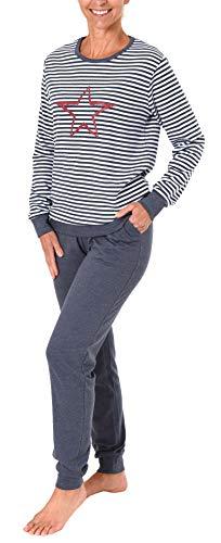 NORMANN-Wäschefabrik Damen Interlock Pyjama mit Bündchen und Stern Motiv - auch in Übergrössen - 281 201 96 237, Farbe:blaumelange, Größe2:52/54