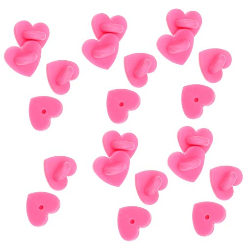 EXCEART 100pcs Rubber Pin Backs Love Heart Butterfly Clutch Backings Pin Keepers Cap Replacement for Badges Lapel Pin DIY Accessory
