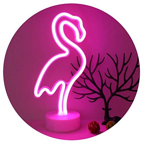 GUOCHENG - Lampada a piedistallo al neon moderno Fenicottero neon