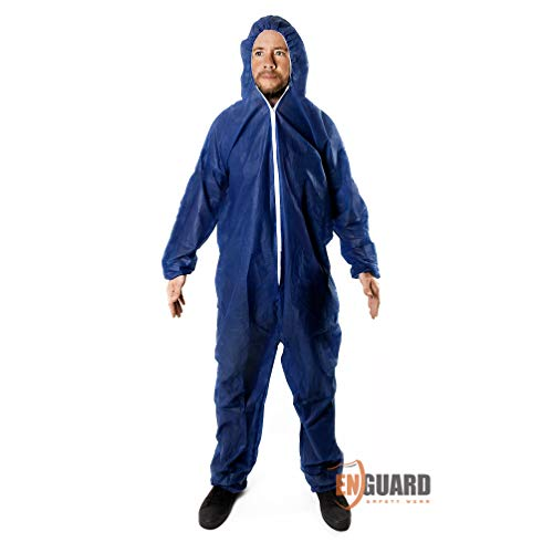 Coverall Hood, Elastic Cuffs, Ankles, Waist. Chemical Protective Coveralls. Unisex Disposable Workwear for Lab cleaning, painting, manufacturing. Lightweight, Breathable. (Medium, Blue)
