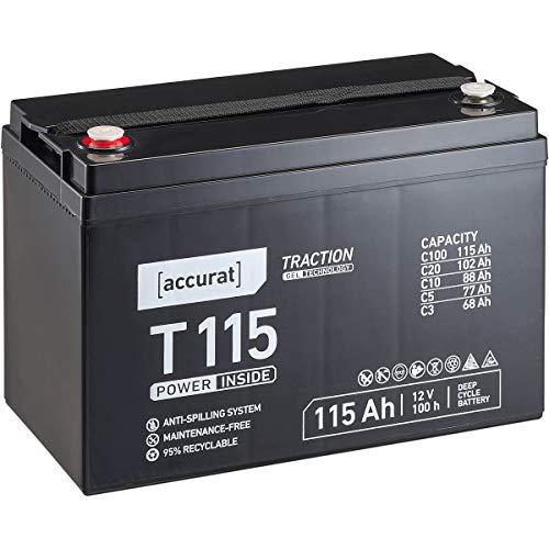 Accurat 12V 115Ah Blei-Akku Versorgungsbatterie zyklenfeste Gel-Batterie Traction T115 wartungsfrei