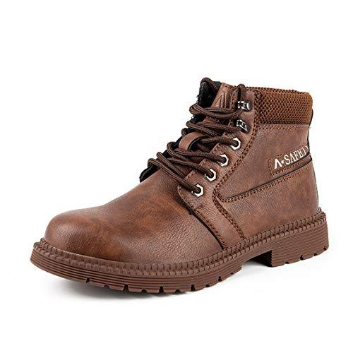 HMAKGG Mujer Hombre Invierno Botas de Seguridad Hombre Impermeable con Puntera de Acero S3 Zapatos de Trabajo Entrenador Unisex Zapatillas de Senderismo,Marrón,38 EU
