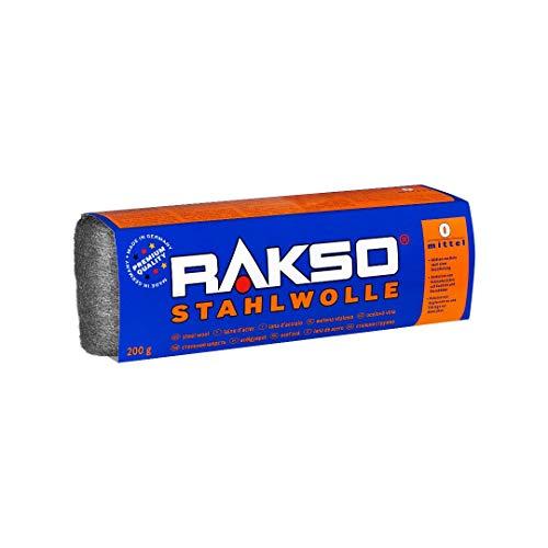 RAKSO Stahlwolle Banderole 200g mittel 0 glättet Holz, entfernt Schmutz auf Kacheln/Steinböden, poliert Kupferrohre/Fittings
