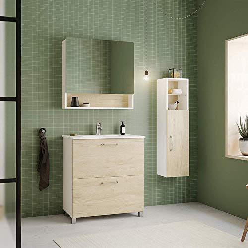 Randalsa Meuble Happy 80 cm | Mélaminé Aspect Bois de chêne | | 81 x 91 x 46 cm | Meuble 2 tiroirs + Vasque céramique