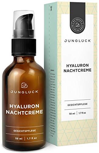 Junglück Nachtcreme mit Hyaluron & Arganöl auf bio Aloe Vera Basis | 50 ml im Braunglas | vegane Anti-Aging Feuchtigkeitscreme für Gesicht & Haut | Junglück natürliche Kosmetik made in Germany