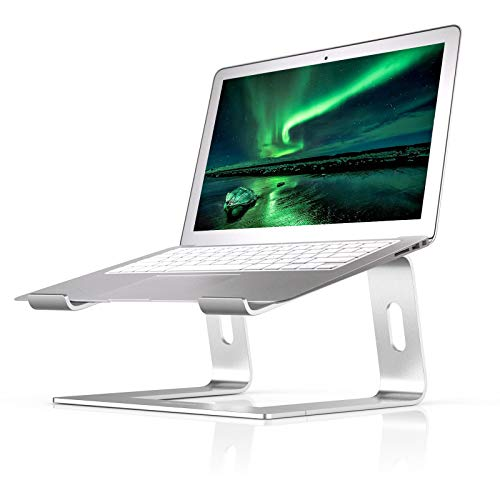 Laptop Stand Compatible for MacBook Pro/Air, Boyata Aluminum Stand Holder Ergonomic Ventilated Desktop Stand Compatible for All 10-15.9 Inches Apple Notebooks, Samsung, Acer, HP, Dell Laptop-Sliver