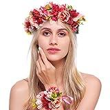 Simsly Boho Couronne de Fleur Couronne Couronne de Mariage Serre-Tête et Bracelet Floral Accessoires Cheveux pour Femme Fille